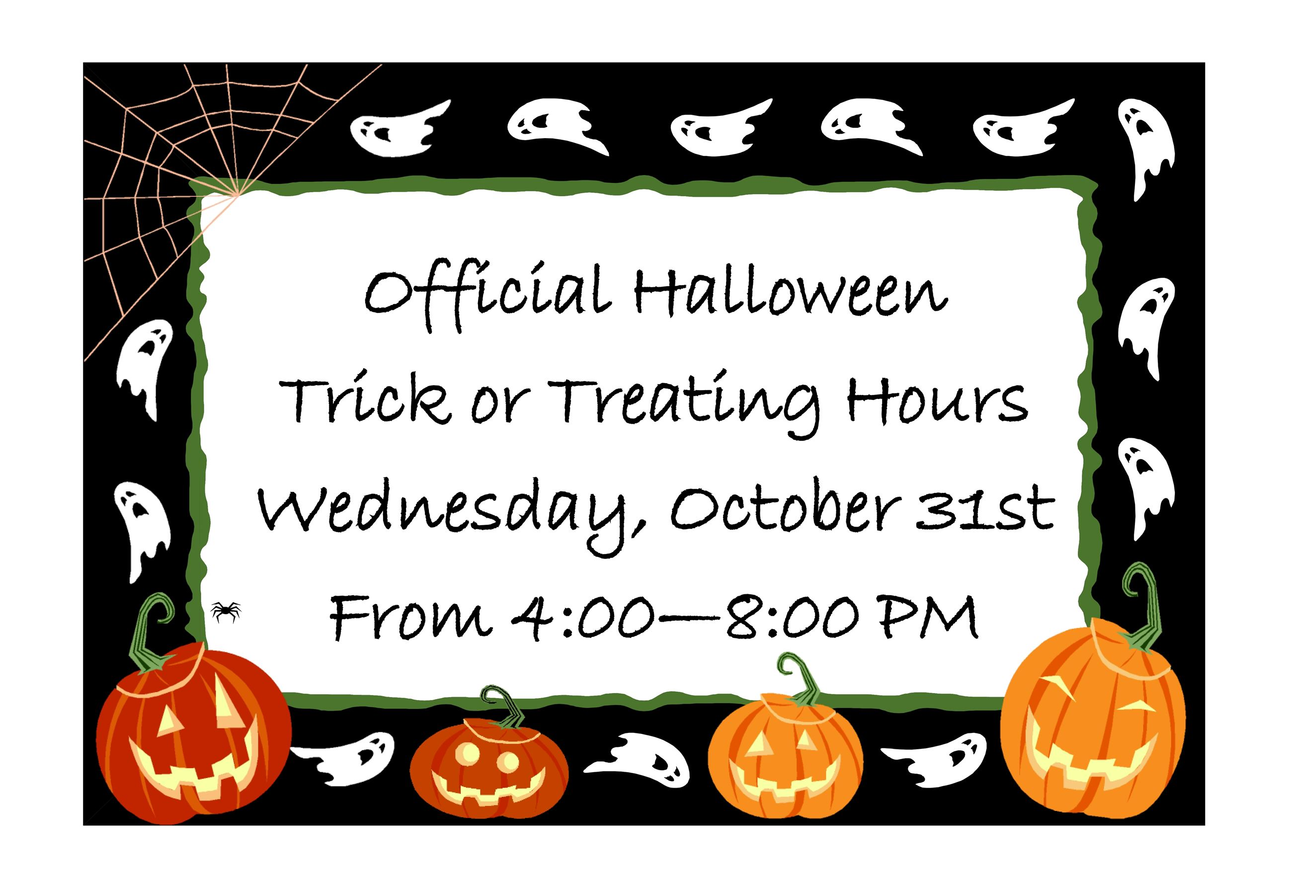 Halloween Trick or treat hours 2018