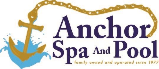 Gold anchor splashing into blue pool; chain draped over business name and motto.